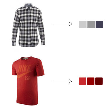 Image of colored shirts and extracted colors