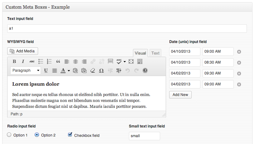 Image of the user interface for the custom metaboxes plugin